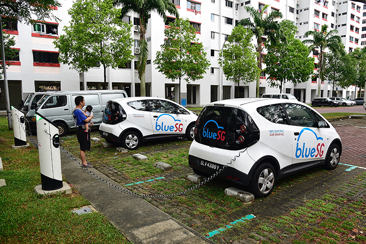 electric car charger singapore bluesg