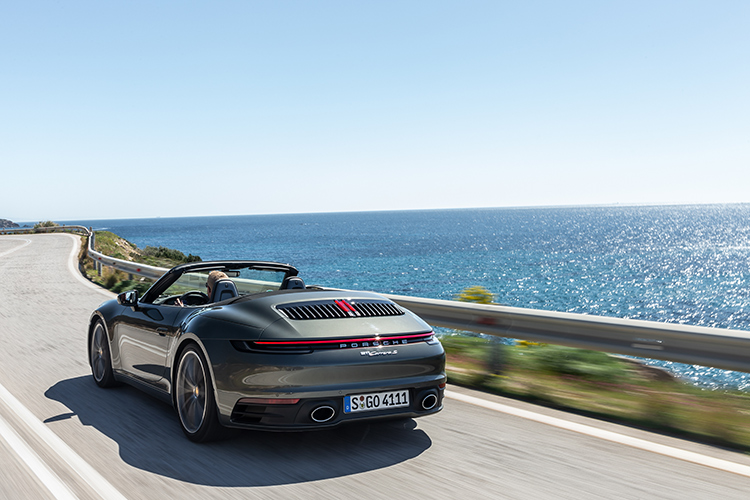 911 carrera s cabriolet driving rear