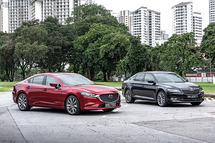 mazda 6 and skoda superb front