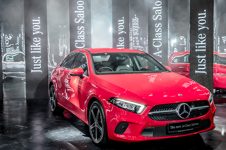 mercedes-benz a-class saloon red front