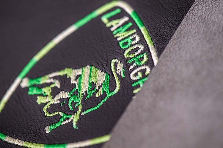 lamborghini ad personam badge stitching