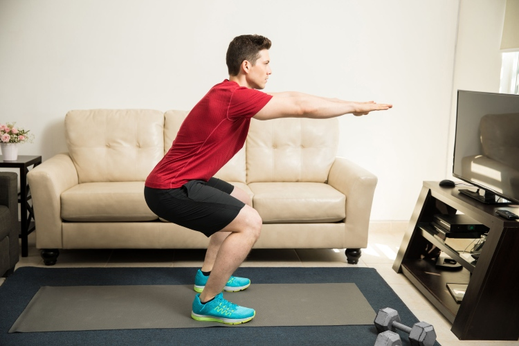 driver fitness squats with side taps