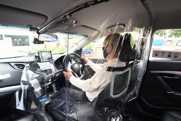 ComfortDelGro cabin shield inside a taxi