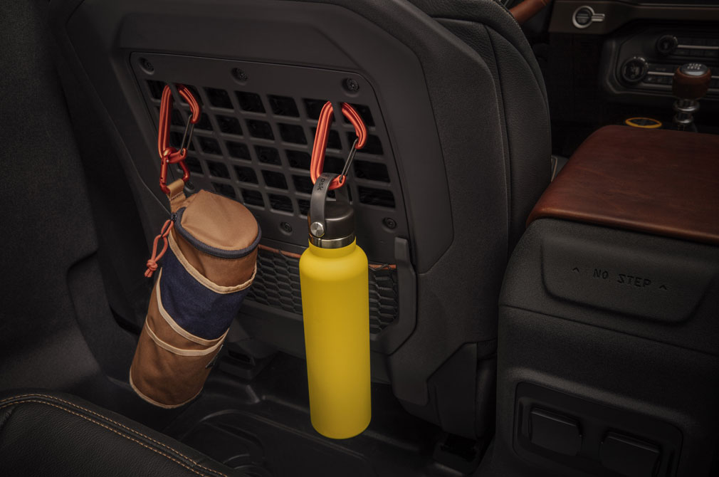 MOLLE hooks are in the seatbacks gives adaptable storage for loose items.