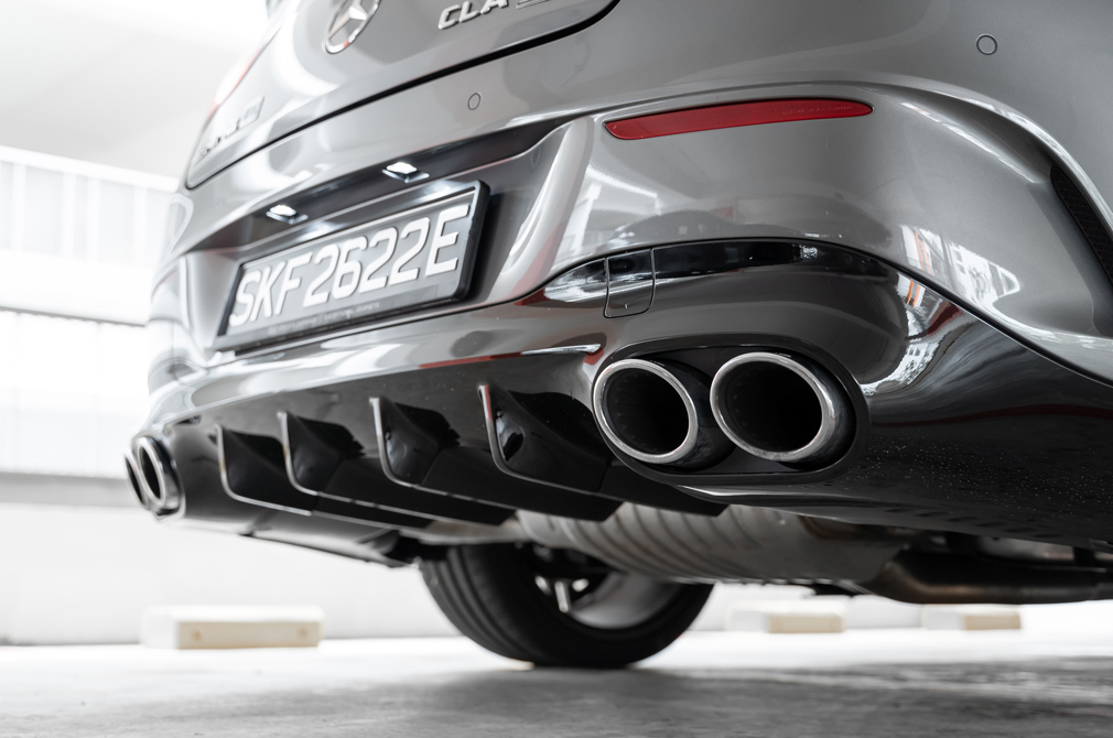 Mercedes-AMG CLA45 S exhaust and diffuser