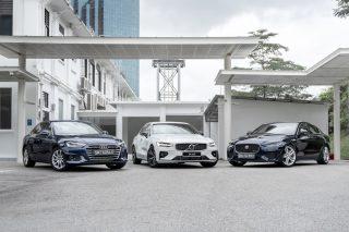 Audi A4, Volvo S60 T5 and Jaguar XE