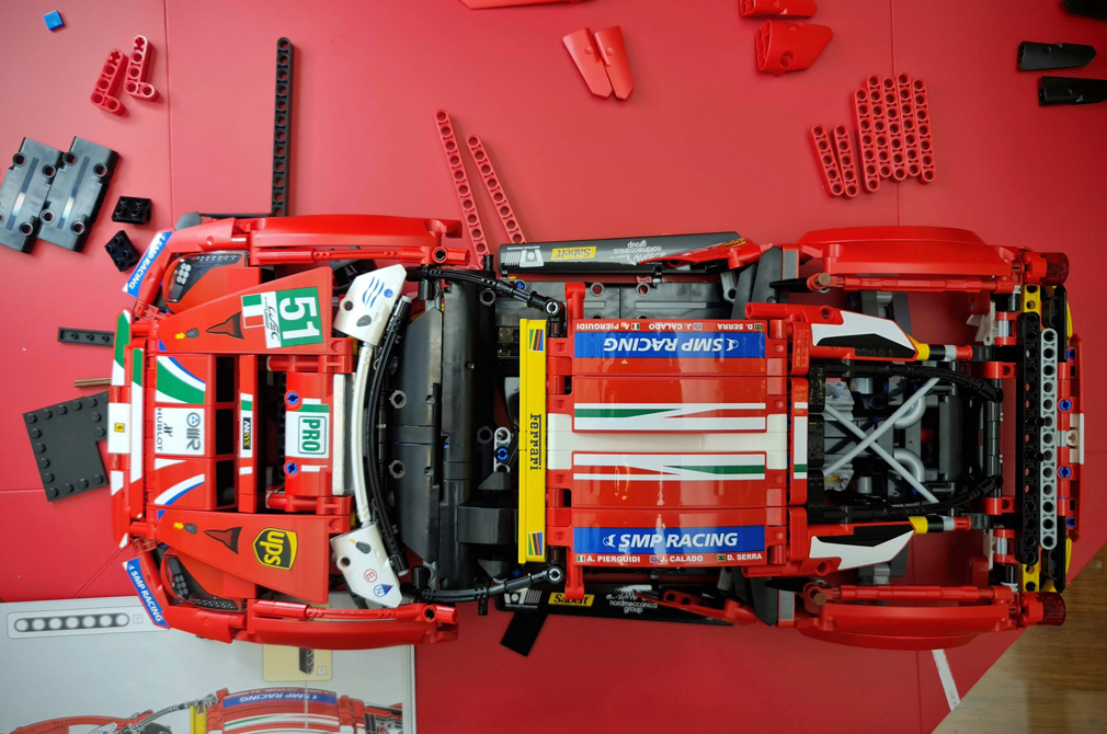 LEGO Ferrari 488 GTE AF Corse top down progress
