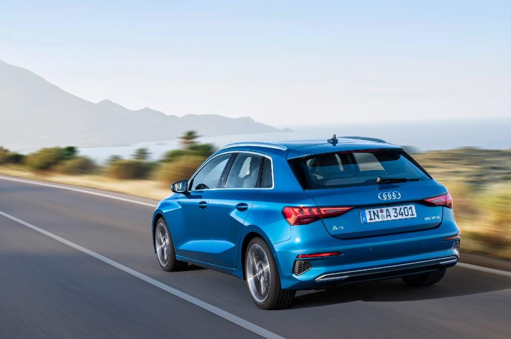 Audi A3 Sportback rear tracking shot